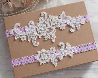 Wedding Garter Set, Off White Bridal Garter Set, Lace Garter Set, Flower Wedding Garter Set