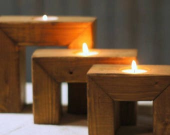 Set of 3 rustic wooden candle tea light holders