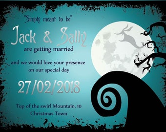 simply meant to be nightmare before christmas wedding invitation save the date wedding - Nightmare Before Christmas Wedding Invitations