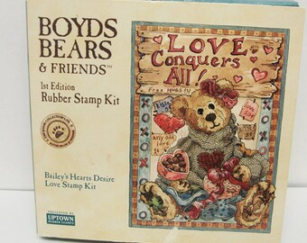 Boyds Bears & Friends Rubber Stamp Kit  First Edition Bailey's Hearts Desire