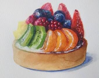 kitchen wall decor / food art / dessert illustration / 8x10 original art / baked goods / watercolor painting / food illustration