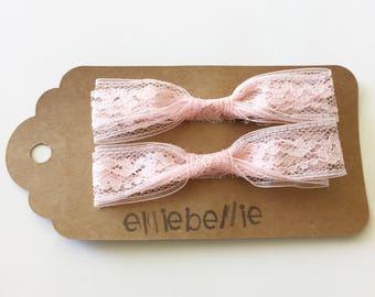 Pink lace bows// pink// lace// lace bows// lace piggy tales