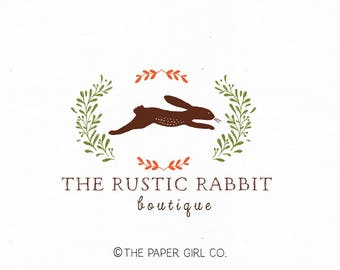 rabbit logo woodland logo design premade logo design photography logo baby shop logo children's boutique logo sewing shop logo rustic logo