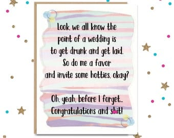 Mature Wedding Card, Funny Wedding Card, Card for Bride, Card for Groom, Wedding Shower Card, Bestfriend Card, Bridal Shower Card