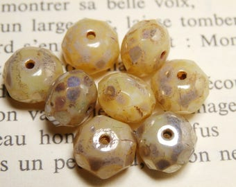 faceted Czech, 6x8mm 7 beads cream picasso R803 finish
