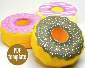Doughnut Favour Box. DIY Doughnut Favor. Donut Centrepiece Treat Box. Doughnut Party Theme Box. Donut Favor Box. Printable PDF Box Template.
