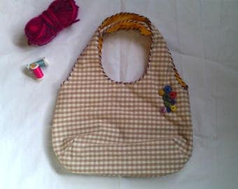 reversible gingham cotton and linen bag