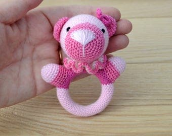 Rattle crochet - baby rattle - teething toy - waldorf baby toy - montessori baby toy - wood rattle - Pink bear - blue bear - Ring holder