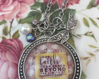 Handcrafted, vintage style glass tile pendant necklace/inspirational/faith