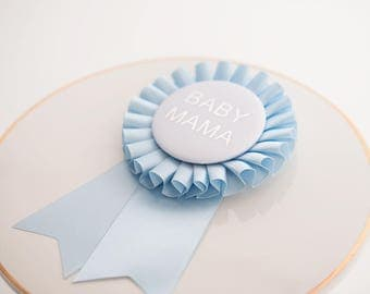 Baby Shower Button, Baby Boy, Boy Mom, Baby Mama Pin, Blue Rosette Button, Baby Celebration, It's a Boy Button, Satin Button Pin