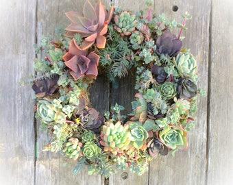 "I got the Blues - 11"" Succulent Wreath"