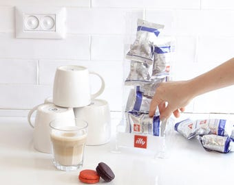 Clear Coffee Dispenser, Illy Pod Holder, Kitchen Organize, Clear Minimal Decor Gift, Counter Top Storage, Kitchen Accessory, Coffee Display