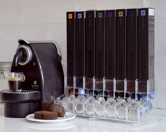 Clear Large Nespresso Coffee Capsules Holder, 80 capsule Storage, CounterTop Rack, Coffee holder Organizer, Coffee Lover Gift Kitchen Decor