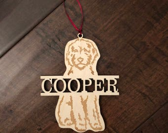 Goldendoodle ornament, christmas ornament, wooden goldendoodle ornament
