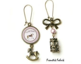 ★My Little manege★ bronze and pink rocking horse earrings