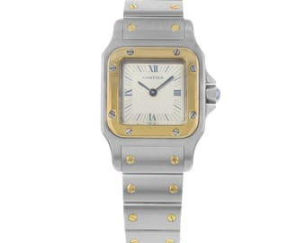 Cartier Santos 23mm Grey Sticks & Roman Numerals Dial Quartz Ladies Watch