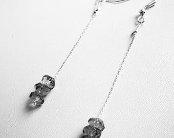 Crystal beads and thin chains earrings