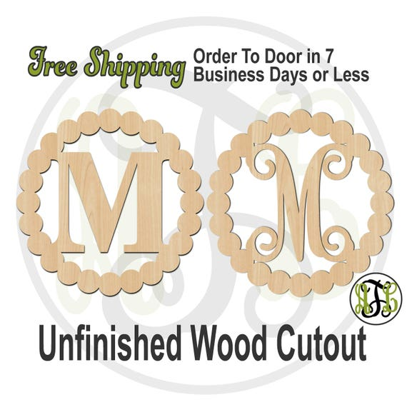 Mia Dot Frame with Initial in CSCBTB or VINE BOLD, 990029M1, Monogram, laser cut wood cut out, Wedding, wooden, Door Hanger, wreath accent