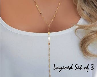 Layered Lariat Y Necklace Choker • Multi Strand Lariat in Gold or Silver • Dainty Shimmer Necklace • Gift for Her • Girlfriend Gift [505]