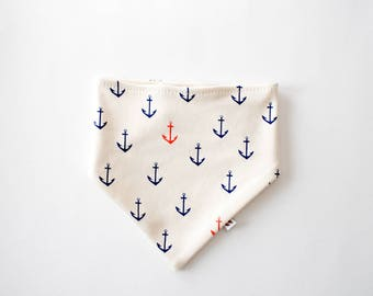 Pure Organic Cotton Bibdana - Anchors / Certified Organic / Drool Bib / Baby Bib