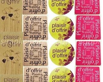 sticker round, square, rectangular stickers set of 20