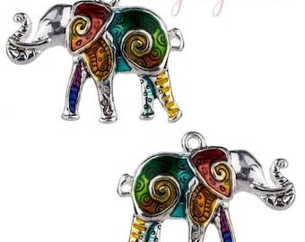 1 elephant charm, silver and colorful 25 x 32mm