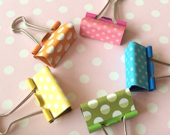 Deskie - spotty binder clips - colourful stationery - yellow, pink, turquoise, green & orange - office desk decor
