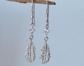 Vintage Sterling Silver Zircon Earrings  Silver Feather  Cubic Zirconia Earrings, Dangle Earrings, Feather Dangle, 925 Silver Drop Pierced