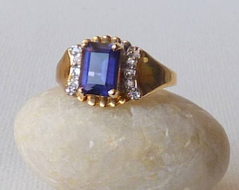 14k Gold  Electroplated Sapphire Crystal Ring Gold Tone Ring Mint Gold Rhinestone Band Size 7 Gold Ring Sapphire Rhinestone Ring, Gold Ring