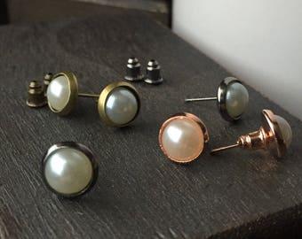 Round Stud Earring Set - Bridesmaid Earrings Set - Post Earring Set - Copper Stud Earrings, Silver Stud Earrings, Brass Stud Earrings