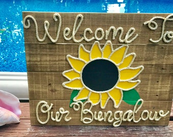 "Handmade ""Welcome To Our Bungalow"" Sunflower with Rope Beach Pallet Art"