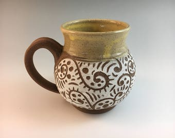 Sgraffito Pottery Mug, Stoneware Mug, Raw Clay Mug, Yellow Mug,
