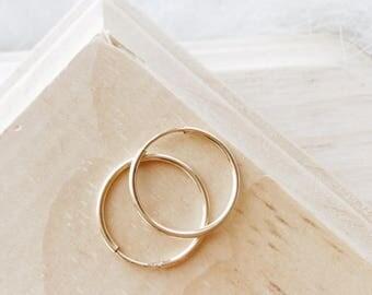 E1065 16MM Gold Filled Thin Dainty Hoops Earrings