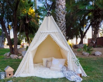 XL pocahontas lace teepee, 8ft kids Teepee, large tipi, Play tent, wigwam or playhouse with canvas and lace