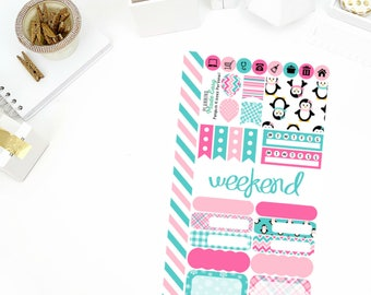 Penguin Love Personal Weekly Kit Stickers! Perfect for your Erin Condren Life Planner, calendar, Paper Plum, Filofax!