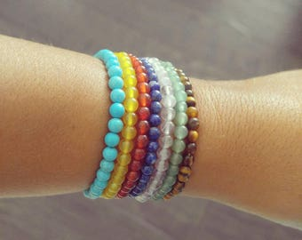 Chakra Stackable Seven Bracelets, Handmade Jewelry, Handmade Beaded Bracelets, Natural Beads,  Handmade Bracelets, Beaded Bracelets, Jewelry