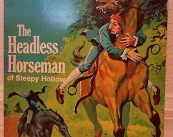 Vintage Childrens Book The Headless Horseman of Sleepy Hollow 1970 Cool Rare Book