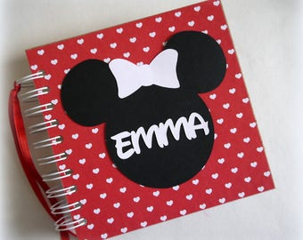 Shop Favorite! 80 pages Custom Personalized Disney Autograph Book Scrapbook Red with hearts Vacation Photo Book nw947