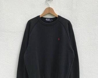 "20% OFF Vintage Polo Ralph Lauren Small Pony Sweatshirt / Ralph Lauren Pullover / Black Sweater / Armpit 23"" / Polo Sport"