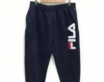 20% OFF Vintage Fila Pants Navy Blue Color Big Logo Pants / Fila Jogger Pants / Fila Italy / Sportwear / Fila Tennis
