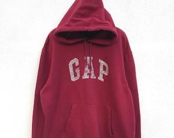 "20% OFF Vintage Gap Spell Out Big Logo Hoodie / Gap Sweater / Gap jumper / Big Logo Sweatshirt / Armpit 24"""