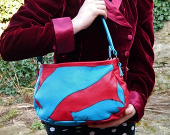Bespoke Blue & Red Patchwork Leather Handbag/Shoulder-Bag
