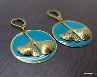 art deco Ginkgo earrings