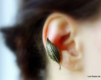 ear cuff 1 loop leaf earrings