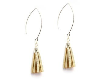 champagne gold leather tassel earrings, silver plated