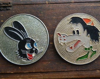 SALE! 2 Big Soviet wolf and Hare pins, Children's pin, Nu pogodi cartoon, Collectible badges, Soviet Pin/Badge, Made in USSR, 1970s