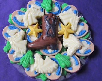 Cowboy Western Boot horses chocolates candy tray