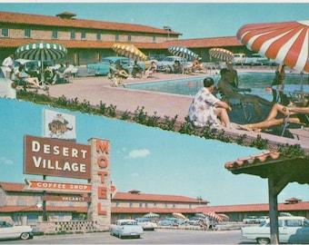 Desert Village Motel  Fort Worth Texas   Vintage Color Postcard