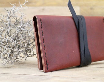 Women wallet, Leather wallet, Handmade small bag, Mahogany wallet, Phone case, Leather passport wallet, Gift, Clutch
