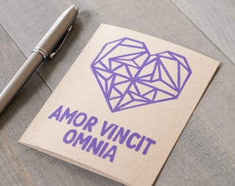 Valentine's Day Card, Amor Vincit Omnia, Love Conquers All, Latin quote,  Block printed love card, Origami heart card, Long distance love